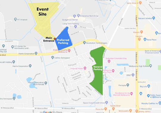 This map depicts parking areas and the event site for this weekend's Melbourne Air & Space Show.