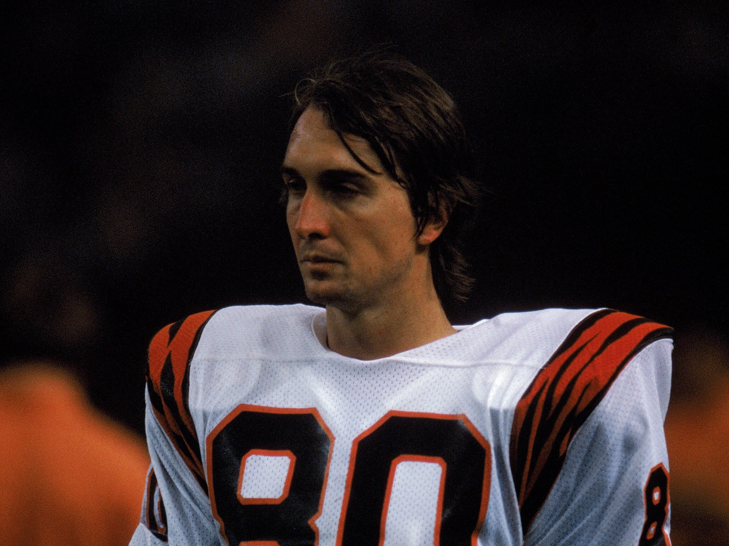 Astronaut product Cris Collinsworth, pictured before a 1985 NFL game at the Houston Astrodome, was a second-round Cincinnati Bengals choice in 1981.  (Photo by Tony Duffy/Getty Images)