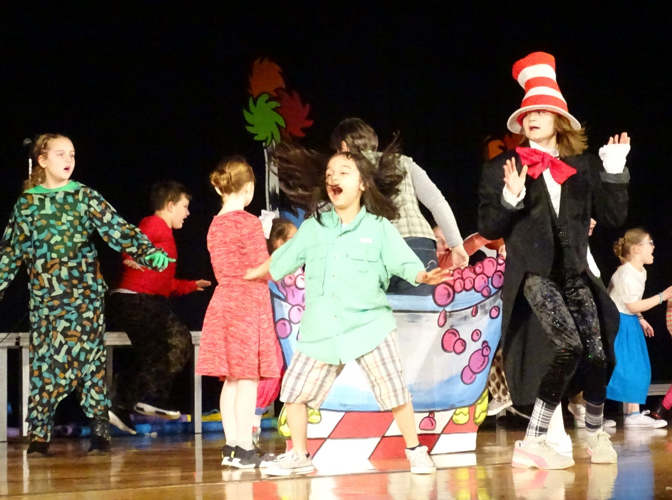 "Cast members rehearse a scene from ""Seussical Jr."" at Bucyrus Elementary School on Wednesday evening. The show will be presented this Friday, Saturday and Sunday"