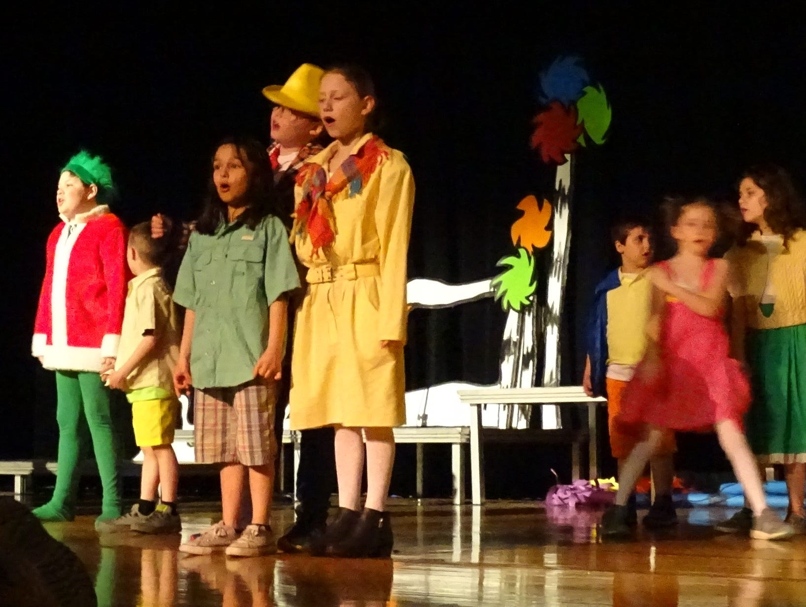 "A Bucyrus Elementary School cast rehearses ""Seussical Jr."" on Wednesday. Performances are scheduled for 7:30 p.m. Friday and Saturday and at 2:30 p.m Sunday in the school auditorium."