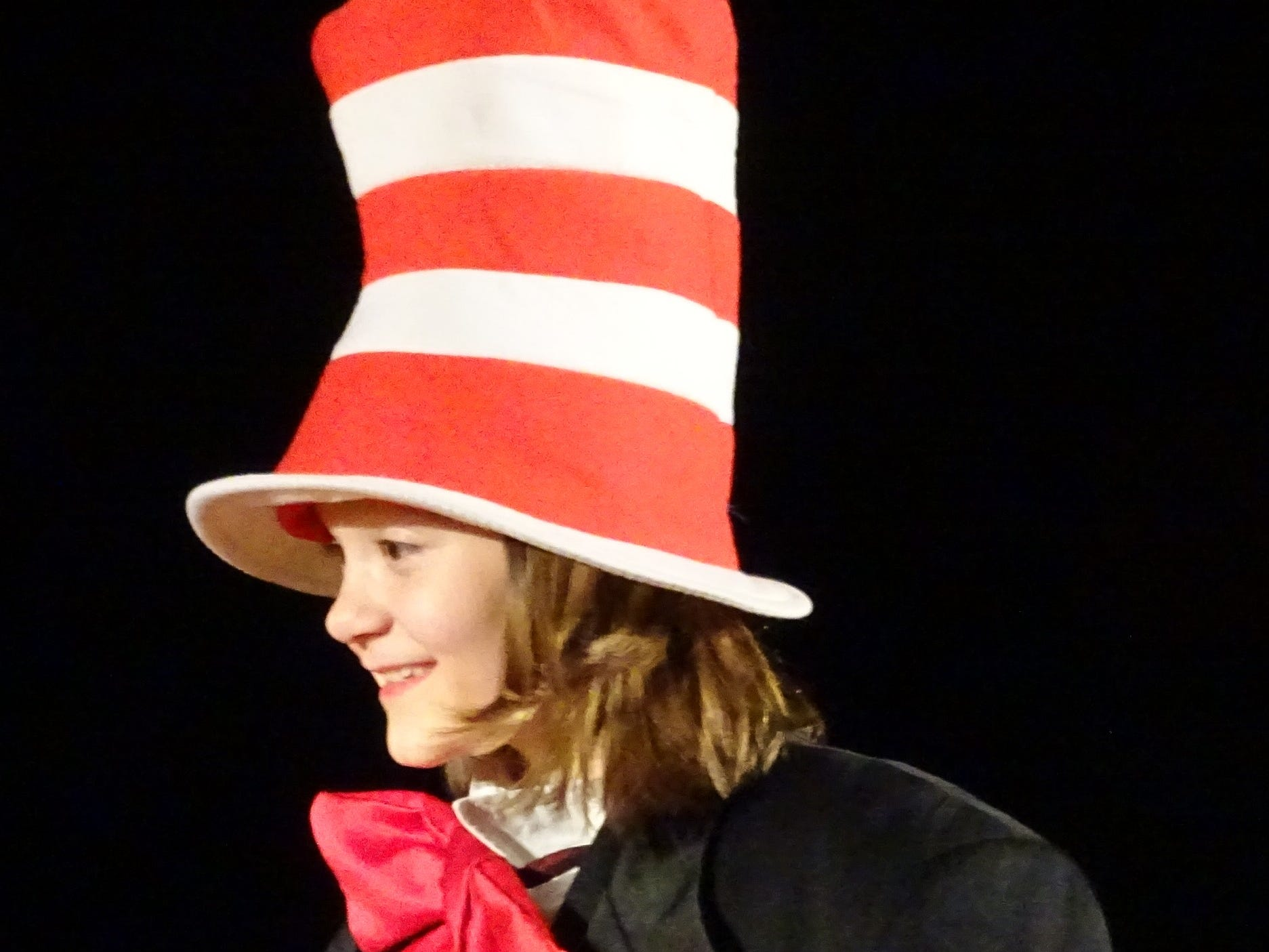 "Rainy Holmes plays the Cat in the Hat during a ""Seussical Jr."" rehearsal at Bucyrus Elementary School on Wednesday evening. The show will be presented this Friday, Saturday and Sunday"
