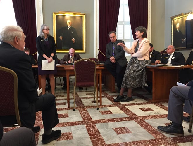 Vermont House Republicans discuss a health insurance bill that adopts many provisions of the Affordable Care Act on March 28, 2019 at the Statehouse in Montpelier. Some Republicans expressed concern that the bill would nullify the benefits of association health plans that are used by small businesses to lower health care costs.