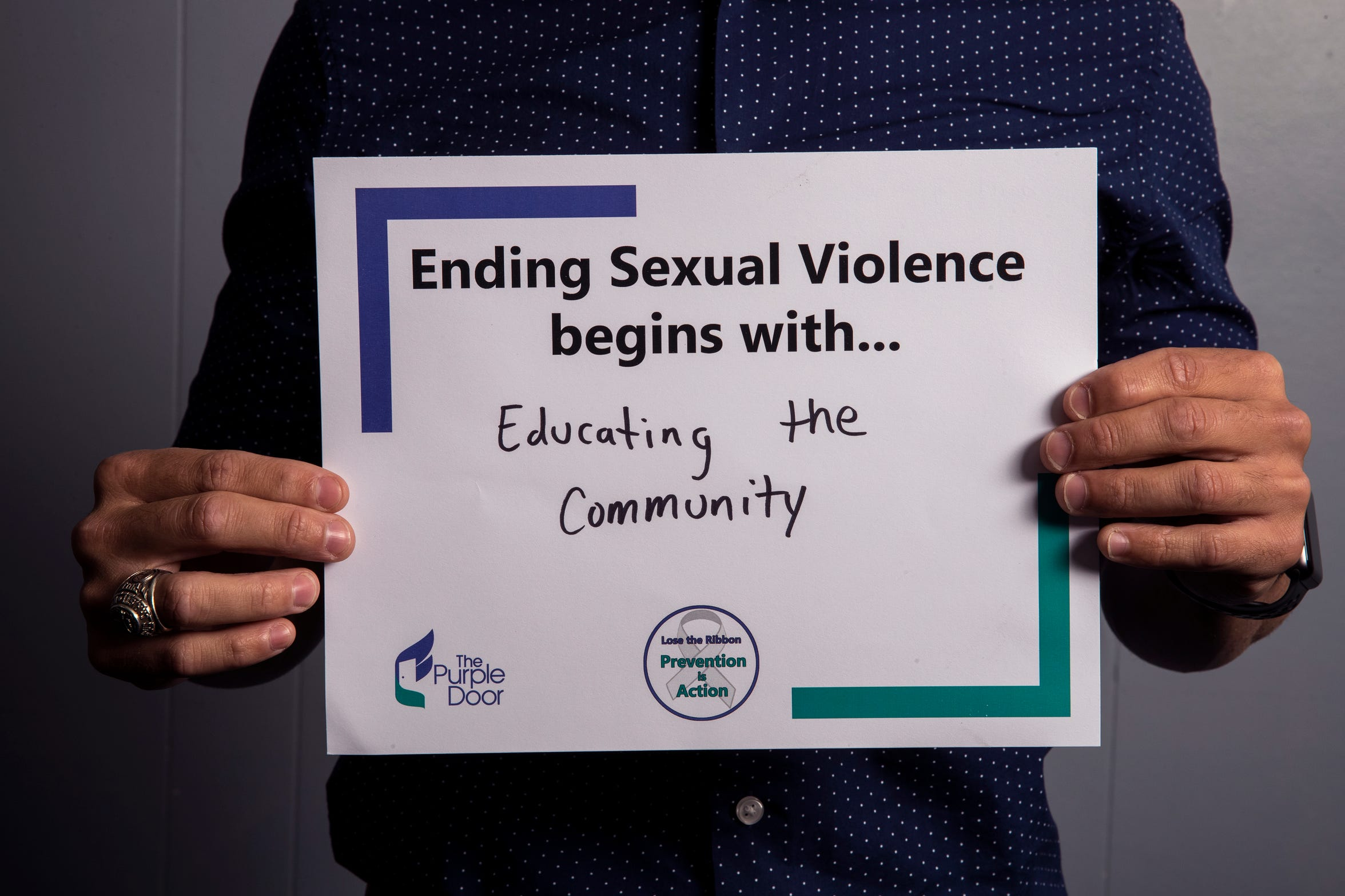 David Galan, teacher and coach at Adkins Middle School, has pledged to create a safe space for his middle school students to speak about sexual assault. He is one of several people to participate in The Purple Door's campaign for April's Sexual Assault Awareness Month, which encourages people to take action against sexual assault and violence.