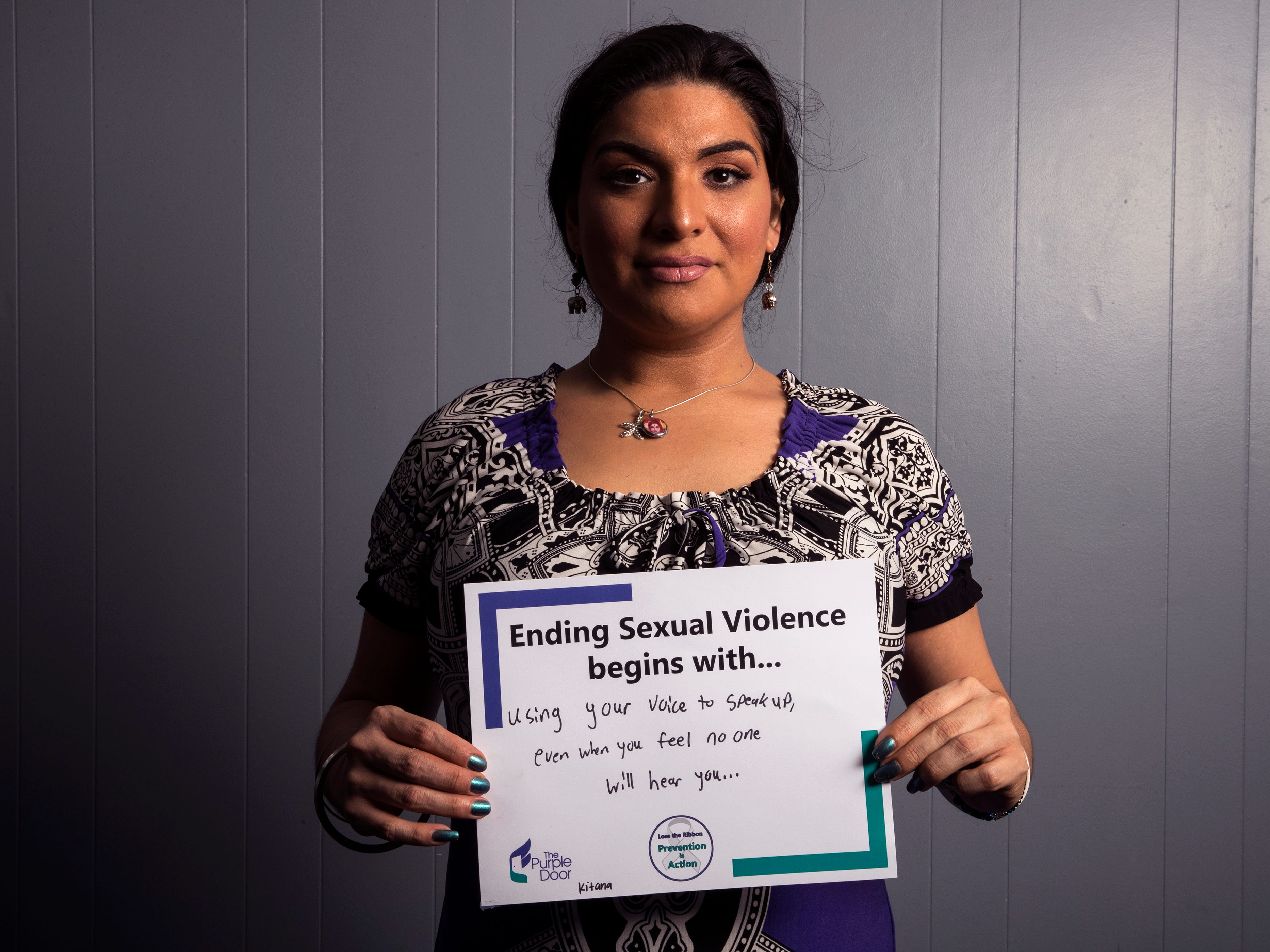 Kitana Sanchez, vice-president of Corpus Christi LGBT, has pledged to use her voice to speak up, even when she feels no one will hear her. She is one of several people to participate in The Purple Door's campaign for April's Sexual Assault Awareness Month, which encourages people to take action against sexual assault and violence.