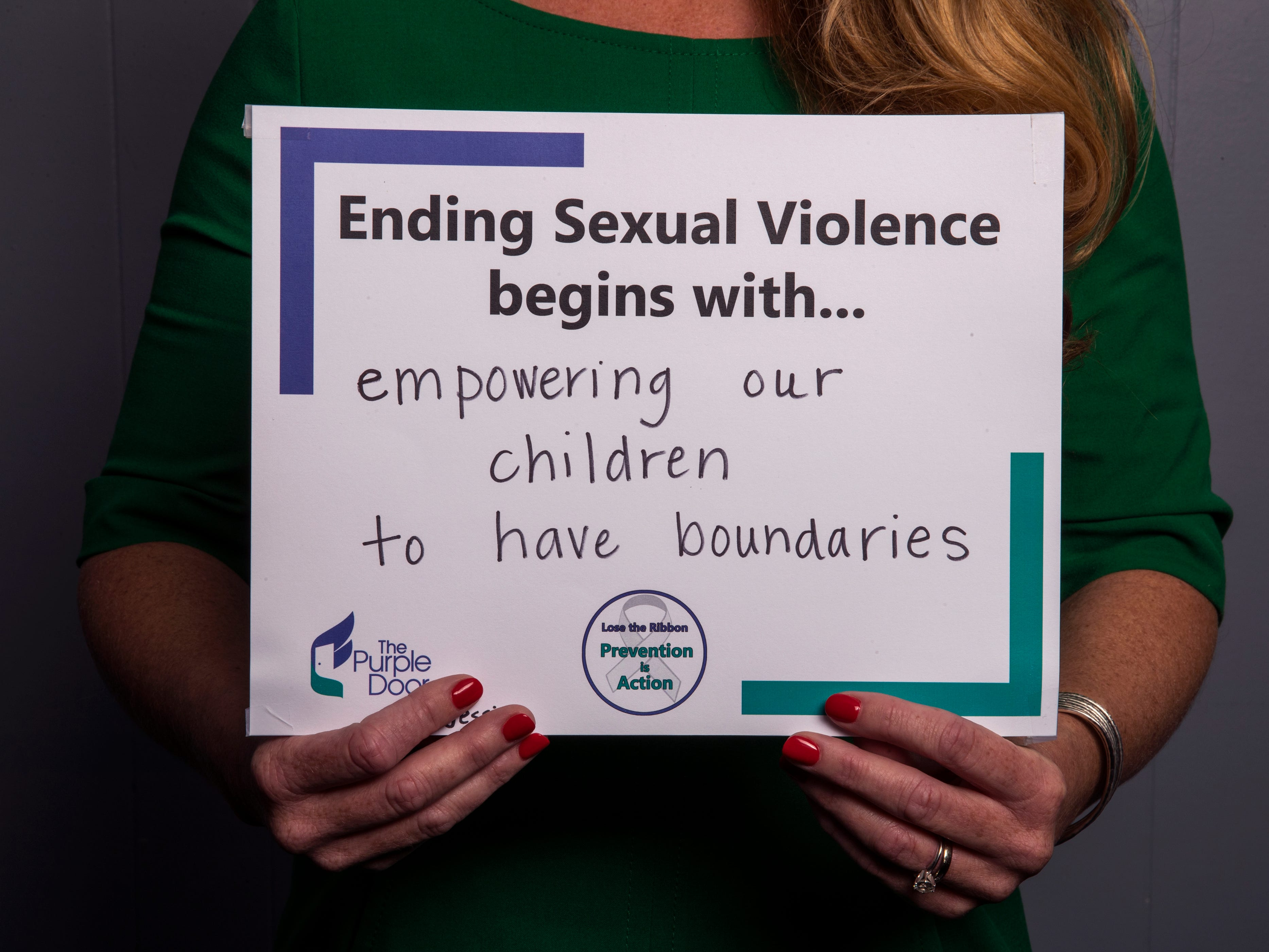 Jessica Saddler, non-residential services manager for The Purple Door, has pledged to empower children to have boundaries. She is one of several people to participate in The Purple Door's campaign for April's Sexual Assault Awareness Month, which encourages people to take action against sexual assault and violence.