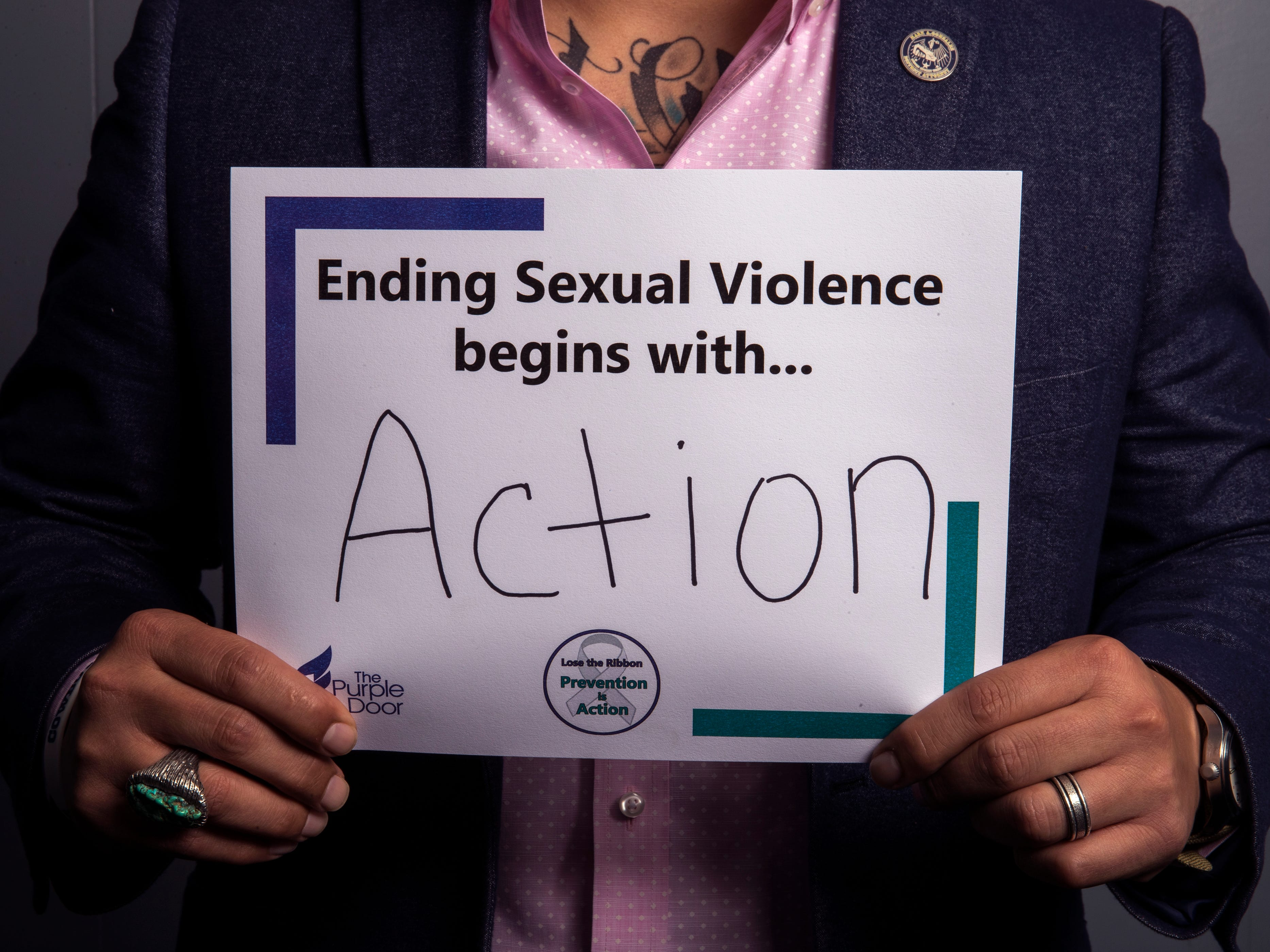 Mark Gonzalez, District Attorney for Nueces County, has pledged to take action through his office by prosecuting offenders. He is one of several people to participate in The Purple Door's campaign for April's Sexual Assault Awareness Month, which encourages people to take action against sexual assault and violence.
