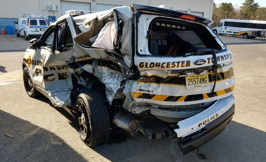 A Gloucester Township police officer was injured after being struck on the Atlantic City Expressway just after midnight Thursday.