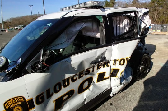 A Gloucester Township police officer was injured after being struck on the Atlantic City Expressway just after midnight Thursday.  The other driver was arrested for suspicion of DUI.