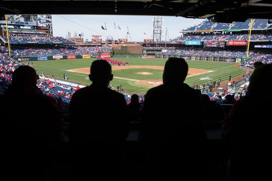 Fans gather before a Phillies home opener against the Braves Thursday, March 28, 2019 in Philadelphia.