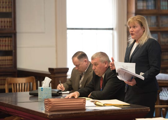 Special Prosecutor Angie Canepa argues against dismissing the perjury and obstruction charges against Fredericka Wagner in Judge Randy Deering's courtroom on March 28, 2019. Wagner is accused of perjury and obstructing justice for allegedly misleading investigators in the 2016 investigation concerning the murder of eight members of the Rhoden family.