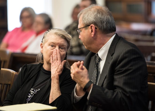 Fredericka Wagner talks with her attorney shortly before her pretrial hearing with Judge Randy Deering on March 28, 2019. Wagner is accused of perjury and obstructing justice for allegedly misleading investigators in the 2016 investigation concerning the murder of eight members of the Rhoden family.