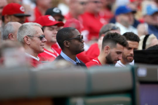 FC Cincinnati owner Carl Lindner III sits in the diamond seats with Fandendo Aid and teammates in the fourth inning of the Opening Day game between the Cincinnati Reds and the Pittsburgh Pirates at Great American Ball Park in downtown Cincinnati on Thursday, March 28, 2019.