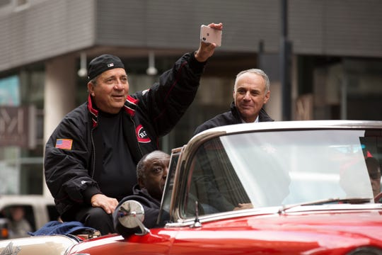 Cincinnati Reds Hall of Fame Johnny Bench rides with MLB Commissioner Rob Manfred during the 100th Findlay Market Opening Day Parade in downtown Cincinnati. Bench, who was part of the Big Red Machine and has two World Series rings, was the parade ambassador. Manfred was the Grand Marshall. The Cincinnati Reds open their 150th season against the Pittsburgh Pirates with Luis Castillo pitching.
