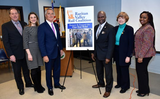 Raritan Valley Rail Coalition Chair Bruce Bergen, Freeholder Kimberly Palmieri-Mouded, Gateway Development Corporation Chairman Jerry Zaro, Plainfield Mayor Adrian O. Mapp, Union County Freeholder Chair Bette Jane Kowalski and Plainfield Councilwoman Ashley Davis.