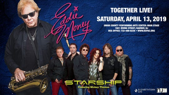 Eddie Money and Starship featuring Mickey Thomas will perform at 8 p.m. on Saturday, April 13, at Union County Performing Arts Center in Rahway.