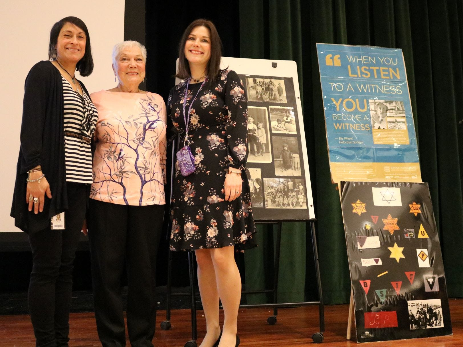 """Holocaust survivor Judith Reifer (center) poses with Edison art teacher Helen Frees (left) and social studies teacher Jacqueline Messinger following a powerful presentation about Reifer's life.  """"I think to hear from a witness, a survivor of the Holocaust, is an honored window into the deepest part of a human's soul,"""" said Frees."""