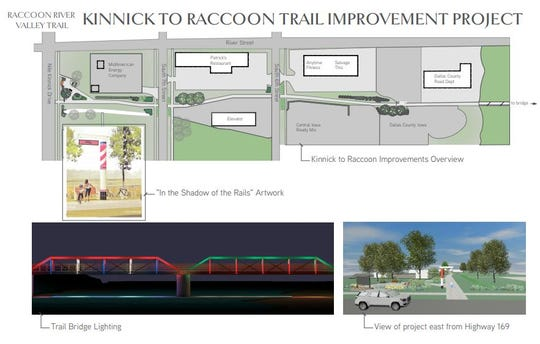 This map shows the layout of the planned improvements to the Raccoon River Valley Trail between Nile Kinnick Drive and the Raccoon River bridge in Adel.