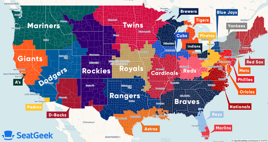 This map from SeatGeek shows what it says are the most popular baseball teams in each U.S. county.