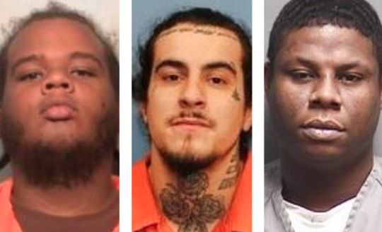 Some of the men arrested in a federal gang investigation, from left to right: Freddie Lee FrencherJr., 28; Jose Antonio Sanchez Jr., 26; and Conrad Fred TaylorJr., 32.