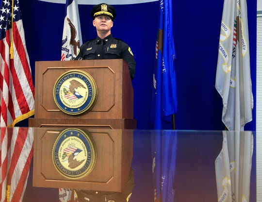 Des Moines Police Chief Dana Wingert details arrests of suspected members of the C-Block gang leadership during a press conference at the United States AttorneyÕs Office in Des Moines Thursday, March 28, 2019.