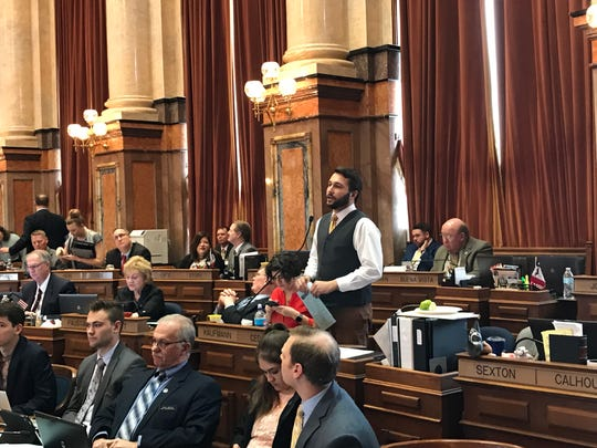 Rep. Bobby Kaufmann, R-Wilton, speaks in support of a proposed constitutional amendment that would allow felons who have completed their sentences to regain the right to vote. The House passed the measure 95-2 on Thursday, March 28, 2019.