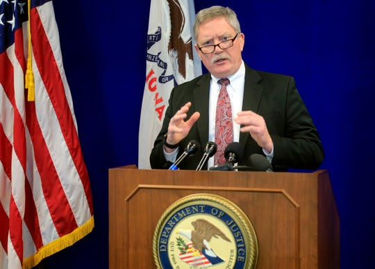 Randall Thysse, Special Agent-in-Charge of the Omaha Field Division of the Federal Bureau of Investigation details arrests of suspected members of the C-Block gang leadership during a press conference at the United States AttorneyÕs Office in Des Moines Thursday, March 28, 2019.