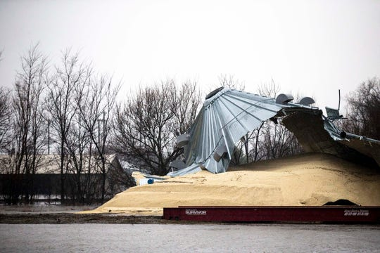 White corn, intended for food production, spills out of a grain bin damaged by floodwater on Thursday, Mach 28, 2019, in Hamburg. More than half of the city and much of the surrounding farmland has sustained damage from the flooded Missouri River.