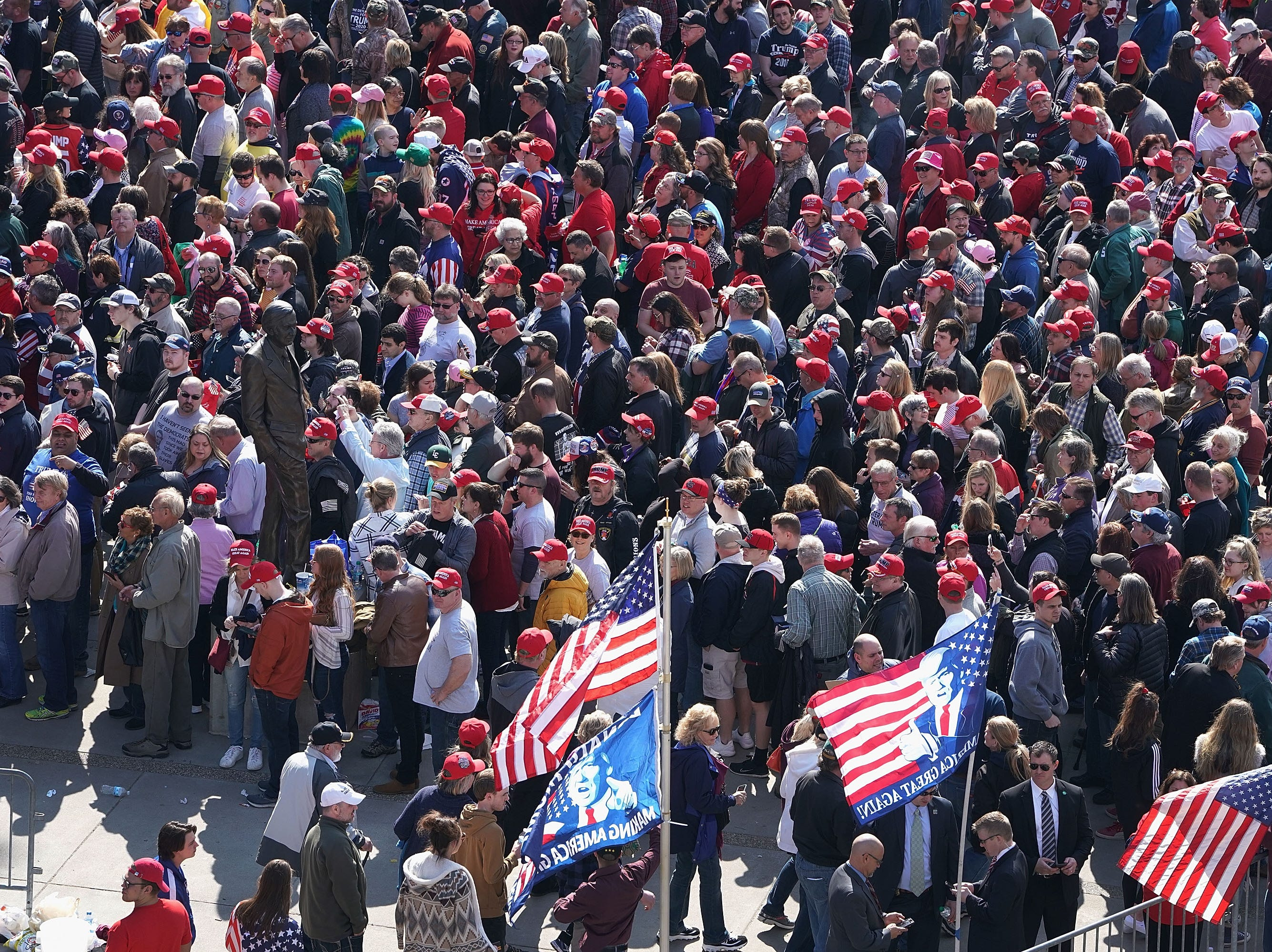 Supporters line up outside of the Van Andel Arena for a rally with President Donald Trump on March 28, 2019 in Grand Rapids, Michigan. Grand Rapids was the final city Trump visited during his 2016 campaign.