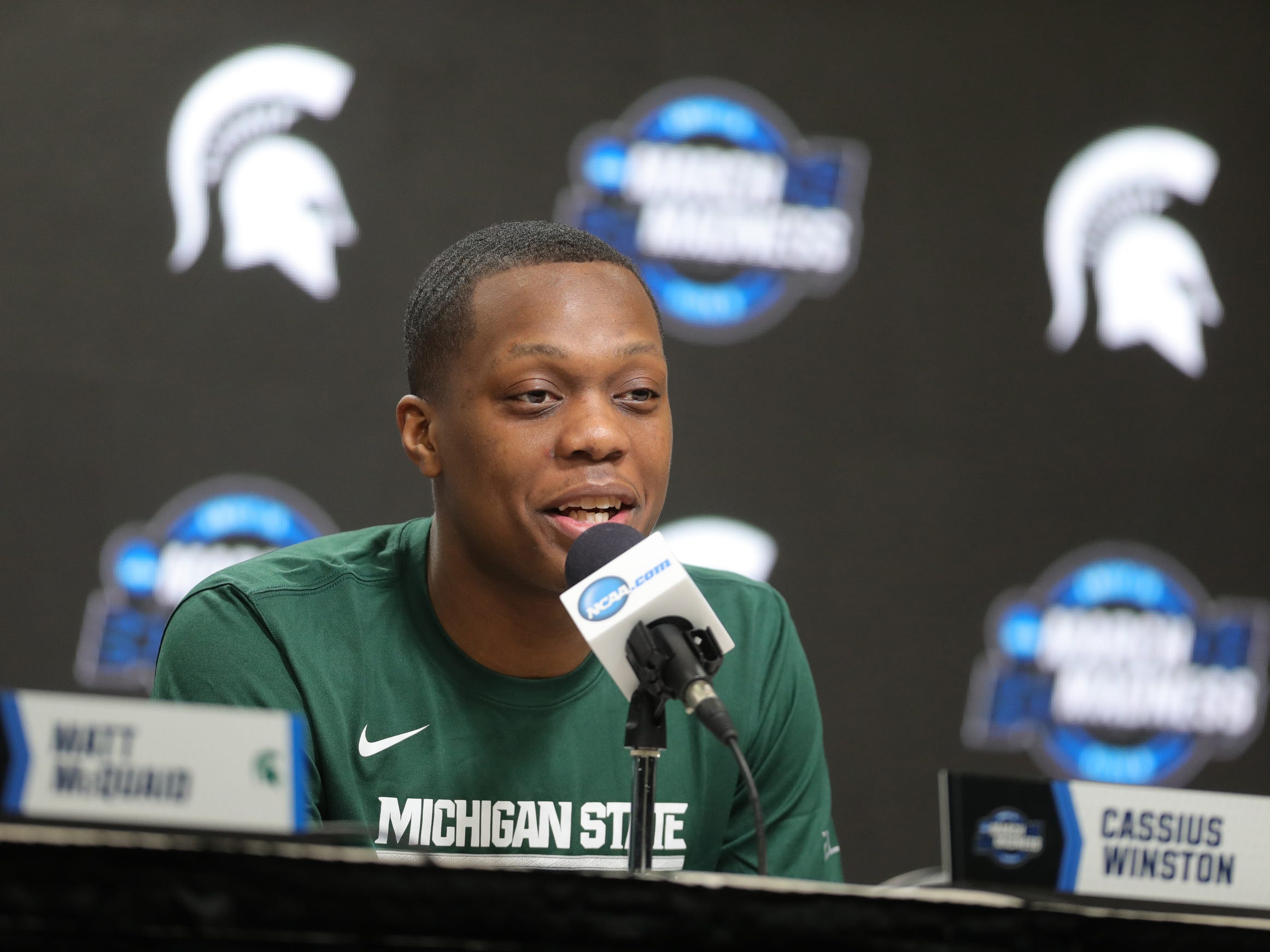 Michigan State guard Cassius Winston talks with reporters about their Sweet 16 game against LSU, Thursday, March 28, 2019 at the Capital One Arena in Washington, D.C.