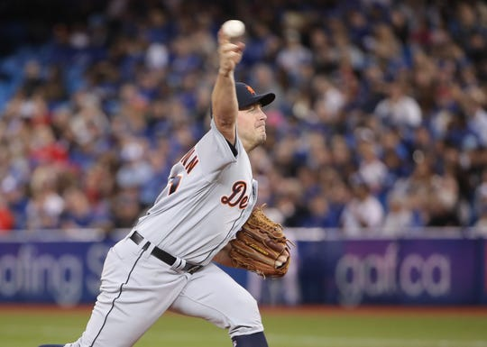 Detroit Tigers' Jordan Zimmermann delivers a pitch in the first inning on Opening Day against the Toronto Blue Jays at Rogers Centre on March 28, 2019 in Toronto, Canada.