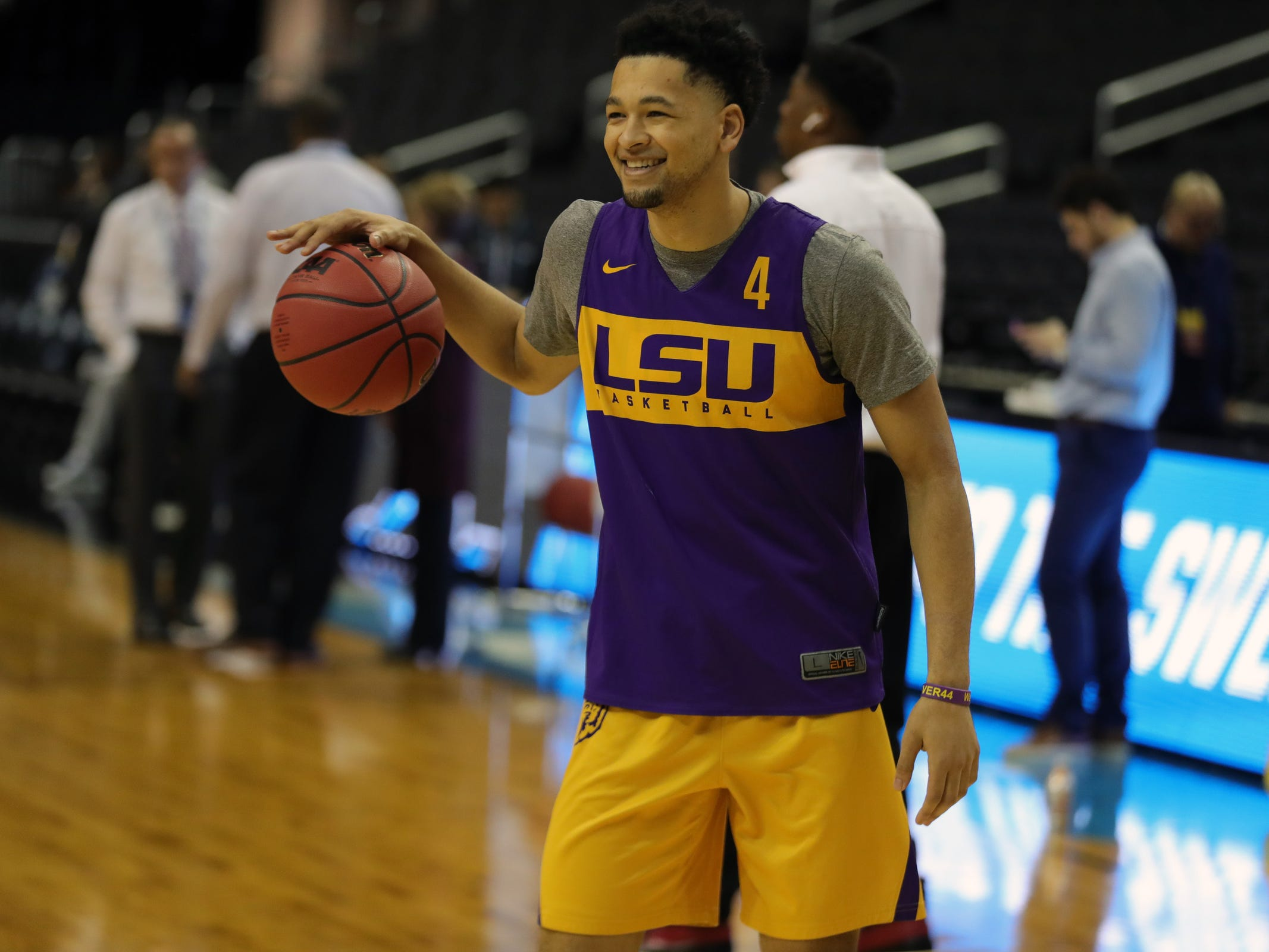 LSU guard Skylar Mays practices for their Sweet 16 game against Michigan State, Thursday, March 28, 2019 at Capital One Arena in Washington, D.C.