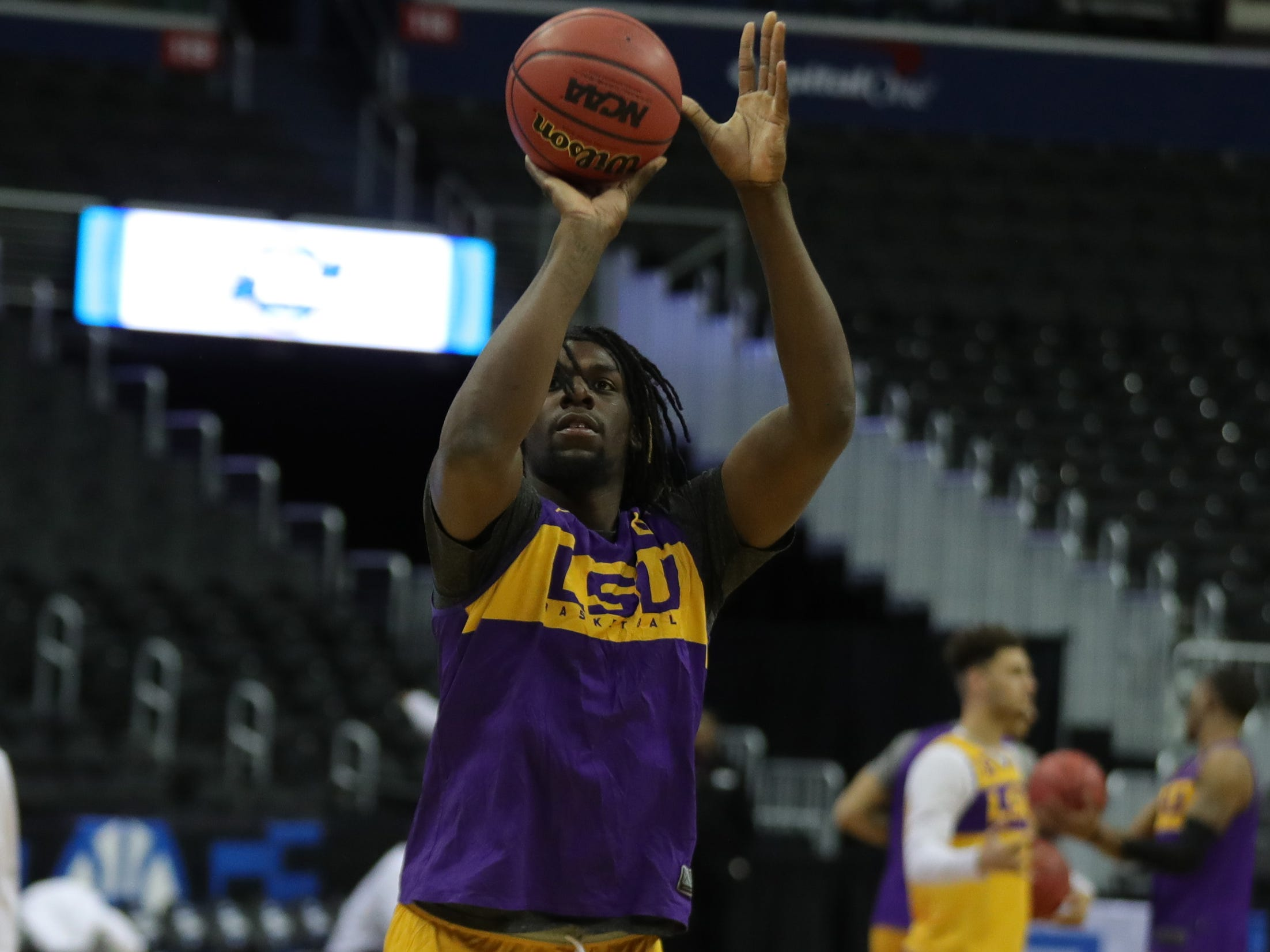 LSU forward Naz Reid practices for their Sweet 16 game against Michigan State, Thursday, March 28, 2019 at Capital One Arena in Washington, D.C.