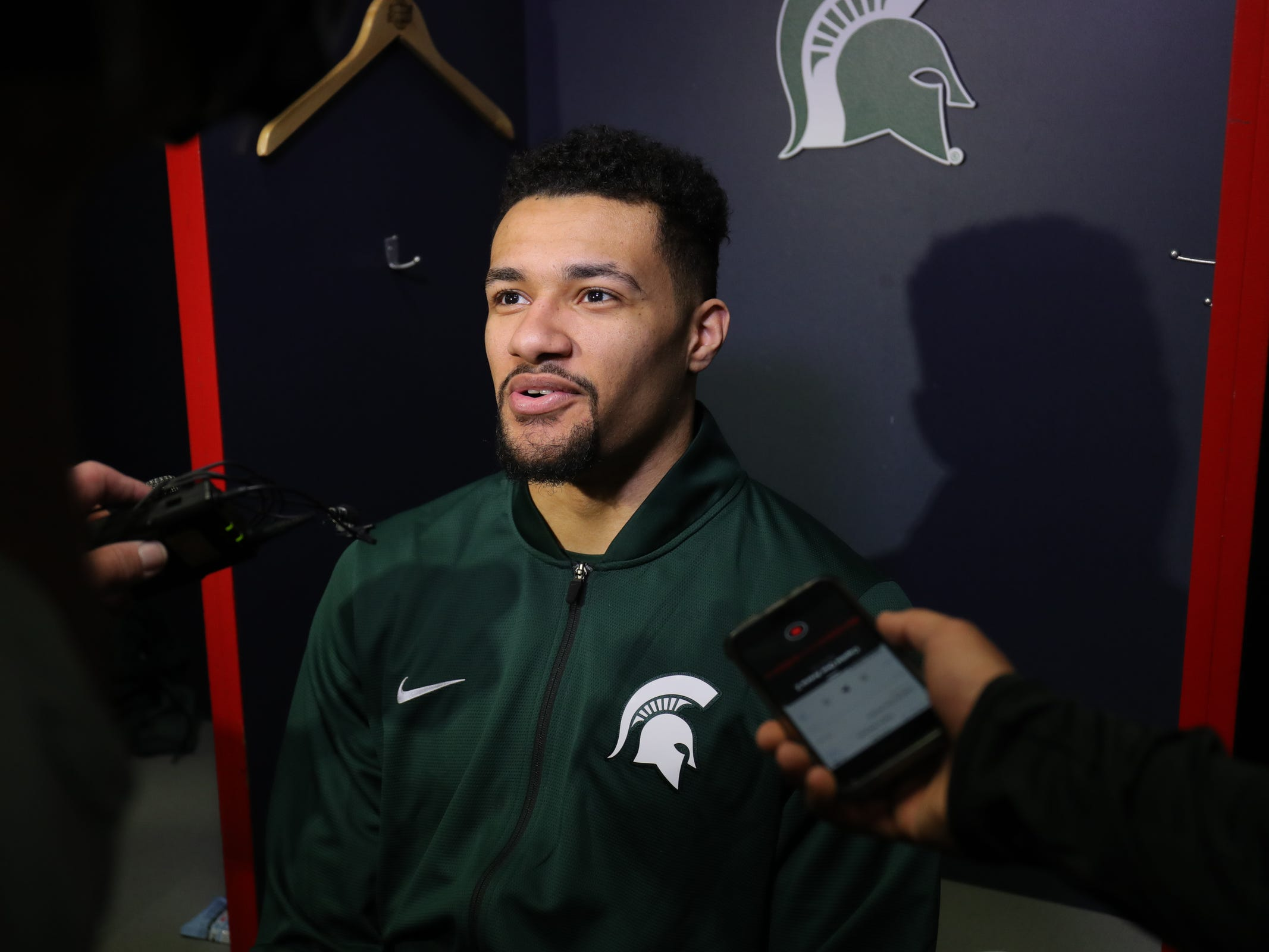 Michigan State forward Kenny Goins talks with reporters about their Sweet 16 game against LSU, Thursday, March 28, 2019 at the Capital One Arena in Washington, D.C.