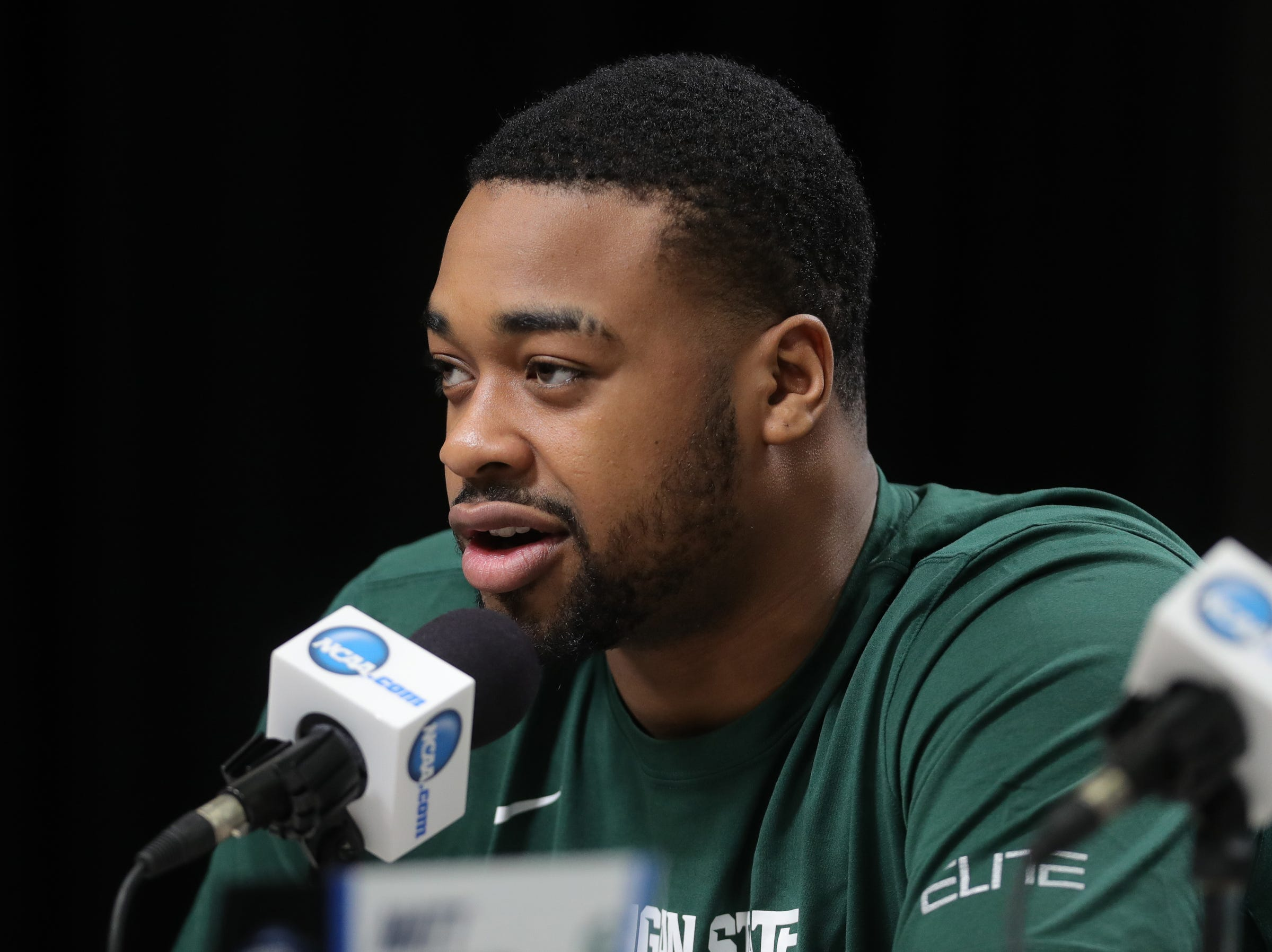 Michigan State forward Nick Ward talks with reporters about their Sweet 16 game against LSU, Thursday, March 28, 2019 at the Capital One Arena in Washington, D.C.