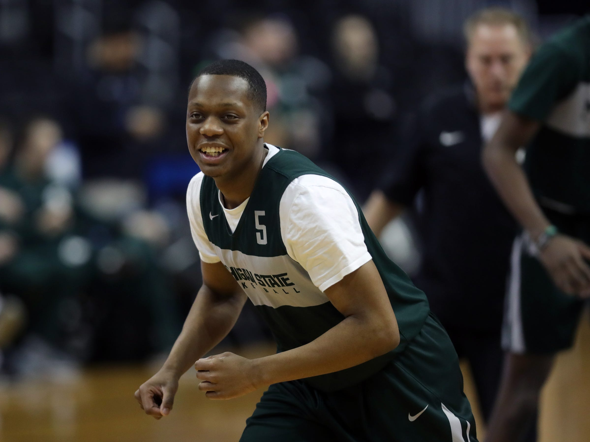 Michigan State guard Cassius Winston practices for their Sweet 16 game against LSU, Thursday, March 28, 2019 at the Capital One Arena in Washington, D.C.