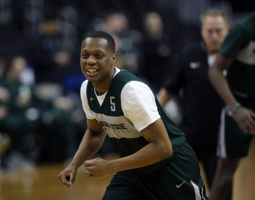 ff6810396efc6c Michigan State guard Cassius Winston practices for their Sweet 16 game  against LSU
