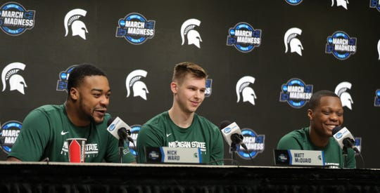Michigan State players Nick Ward, Matt McQuaid and Cassius Winston talk with reporters about their Sweet 16 game against LSU, Thursday, March 28, 2019 at the Capital One Arena in Washington, D.C.