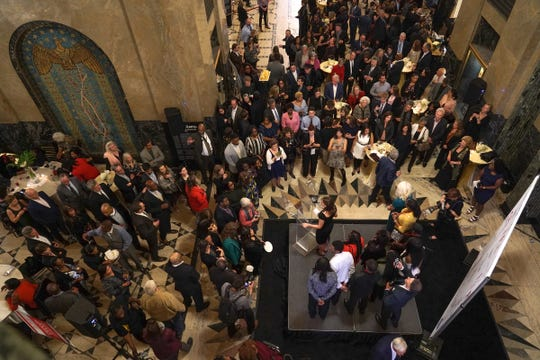 A crowd of about 600 filled the Fisher Building lobby, which was transformed into an elegant party space for Thursday's gala.