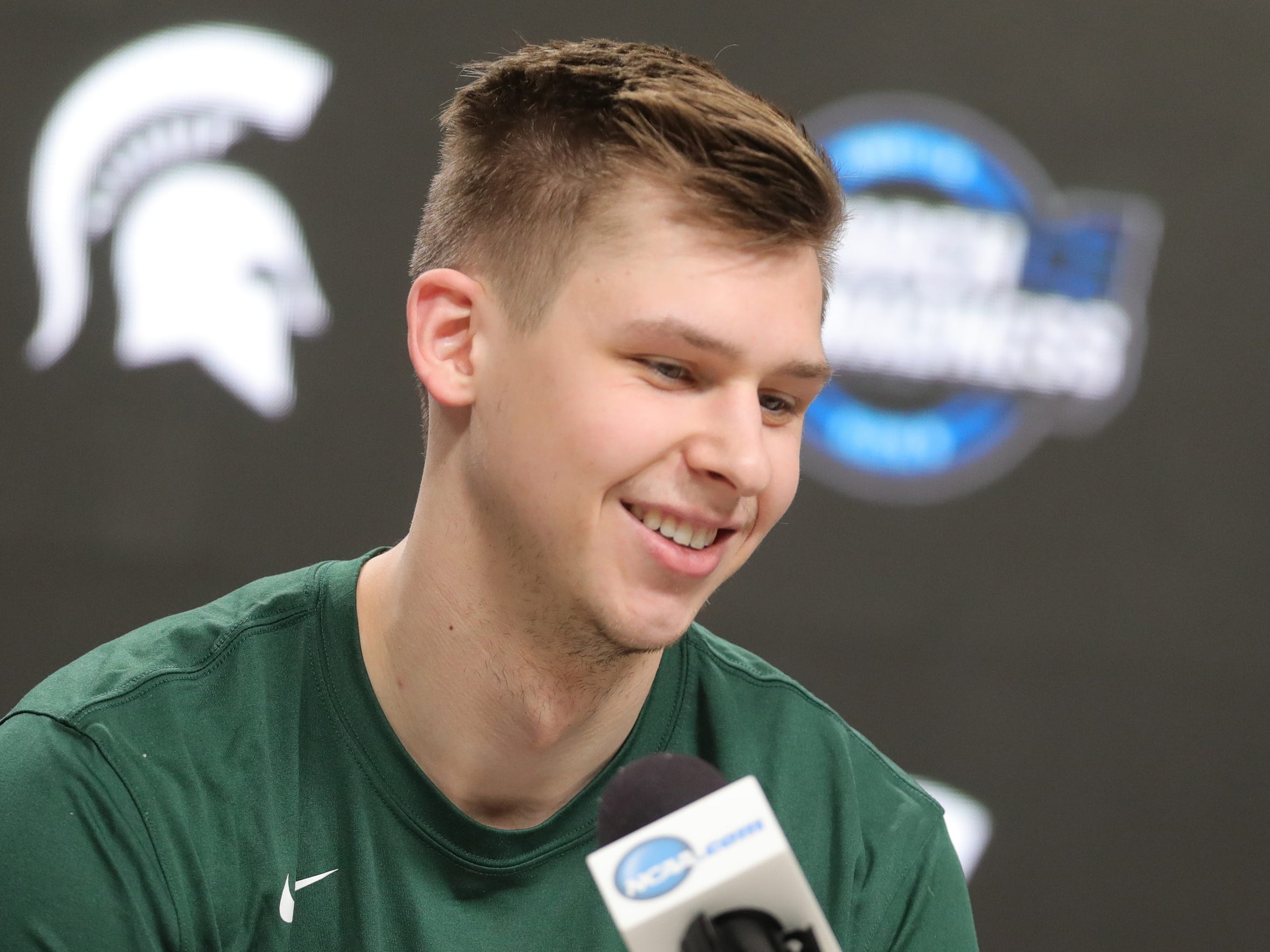 Michigan State guard Matt McQuaid talks with reporters about their Sweet 16 game against LSU, Thursday, March 28, 2019 at the Capital One Arena in Washington, D.C.