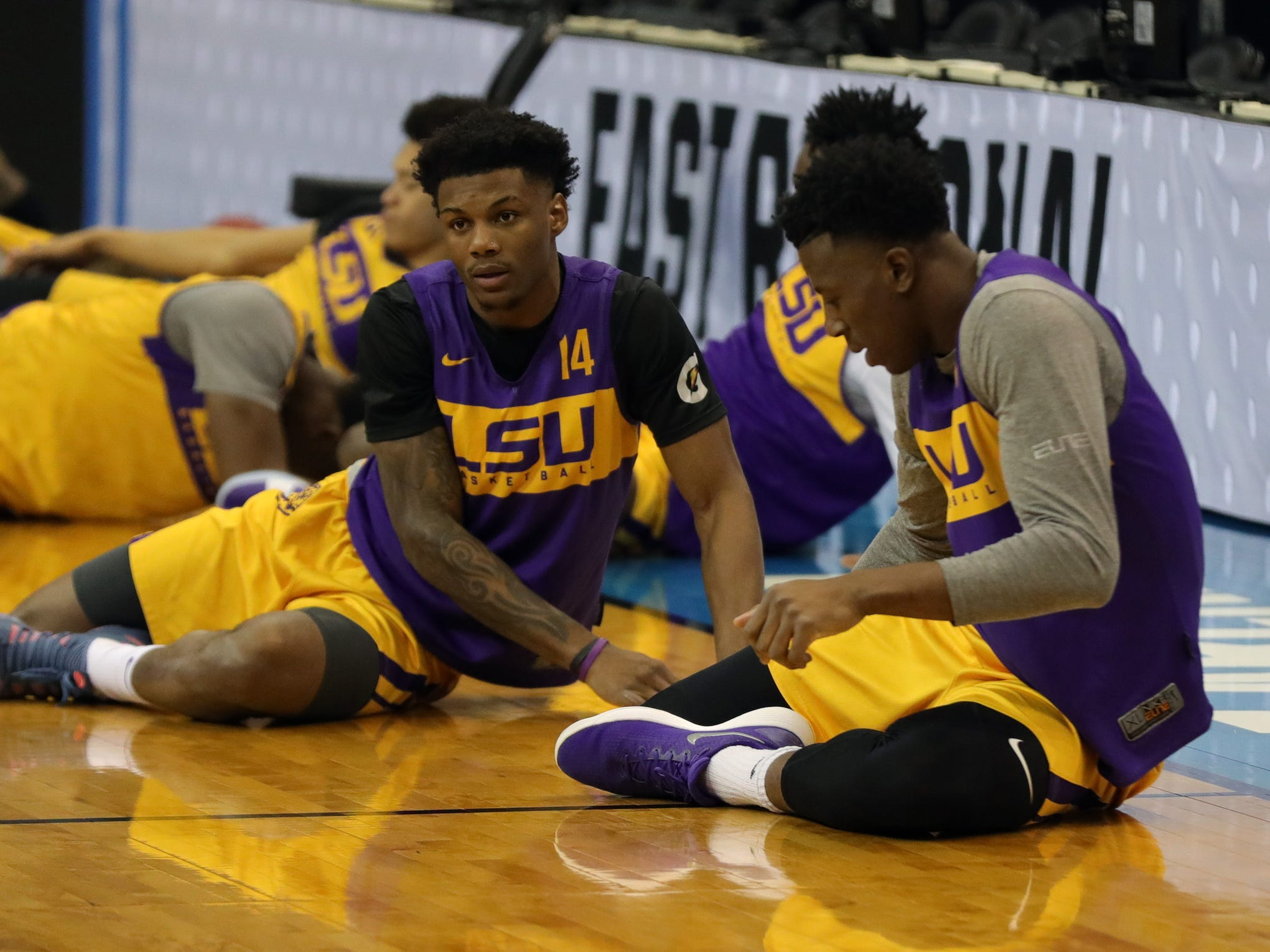 LSU forward Marlon Taylor practices for their Sweet 16 game against Michigan State, Thursday, March 28, 2019 at Capital One Arena in Washington, D.C.