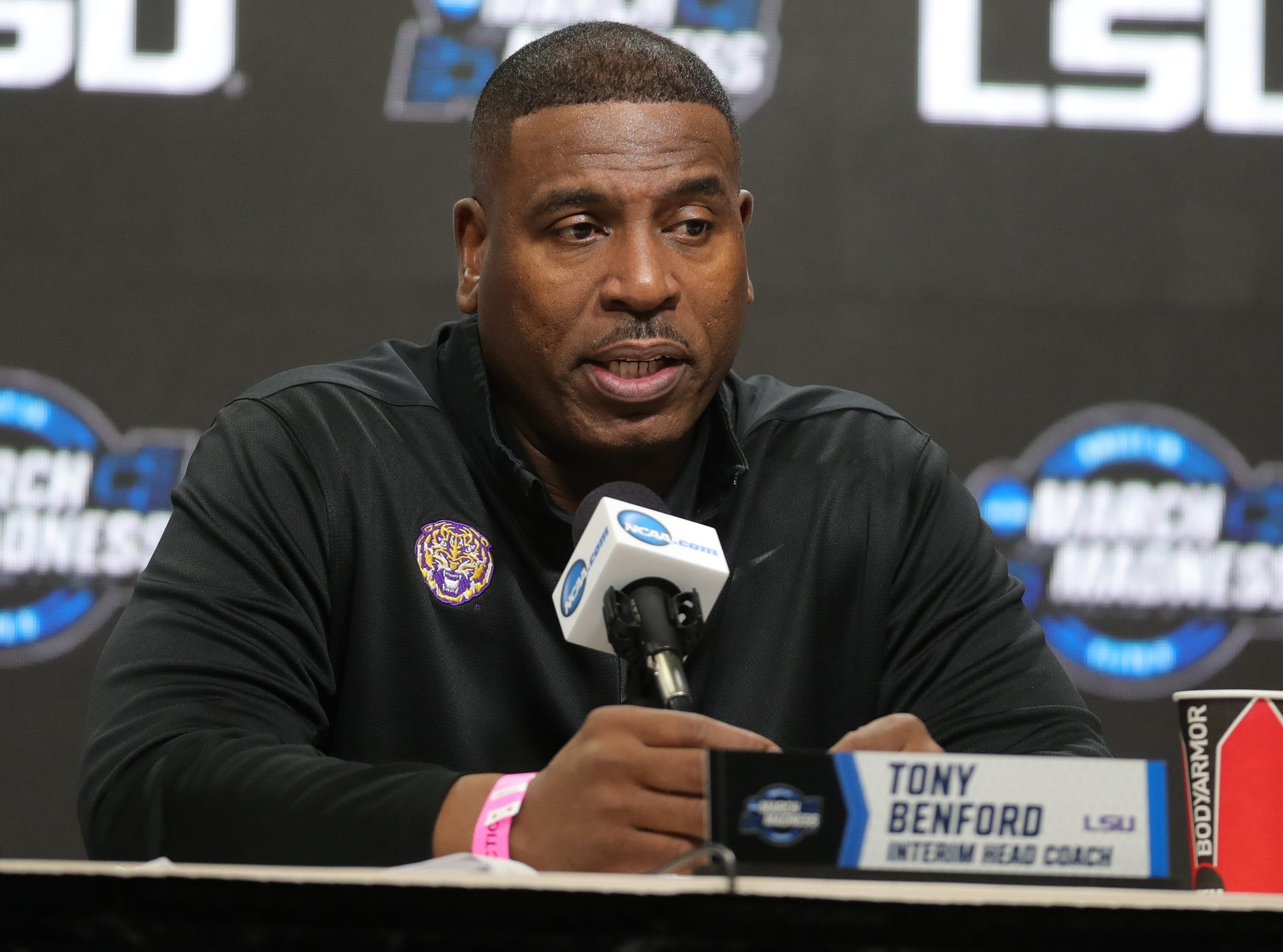 LSU interim head coach Tony Benford talks with reporters about their Sweet 16 game against Michigan State, Thursday, March 28, 2019 at Capital One Arena in Washington, D.C.
