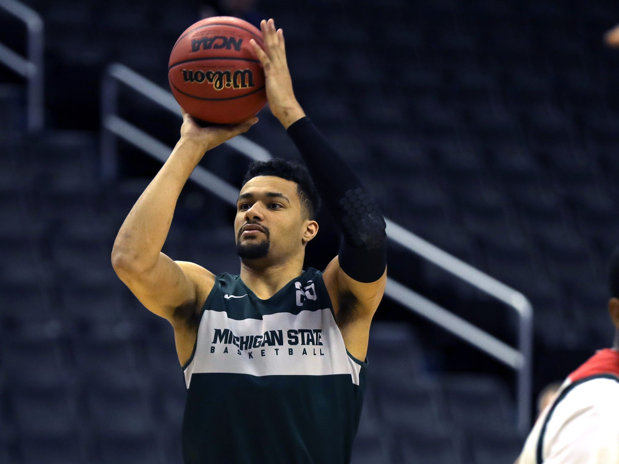 Michigan State forward Kenny Goins practices for their Sweet 16 game against LSU, Thursday, March 28, 2019 at the Capital One Arena in Washington, D.C.