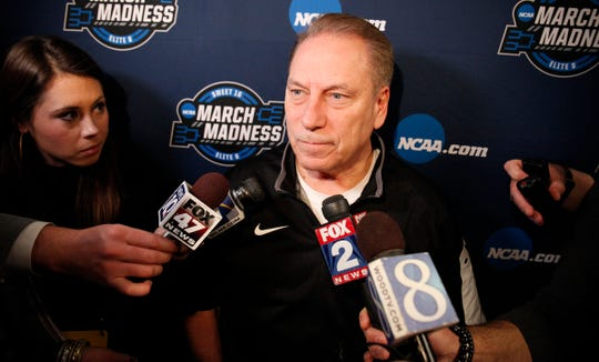 Tom Izzo talks with reporters Thursday at the Capital One Arena in Washington, D.C.