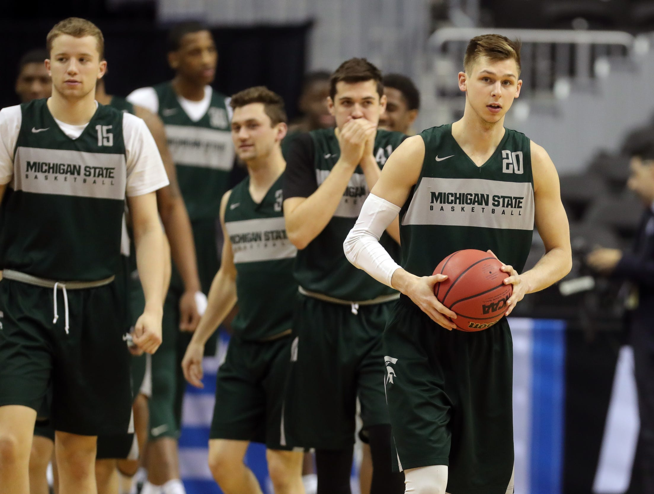 Michigan State guard Matt McQuaid practices for their Sweet 16 game against LSU, Thursday, March 28, 2019 at the Capital One Arena in Washington, D.C.