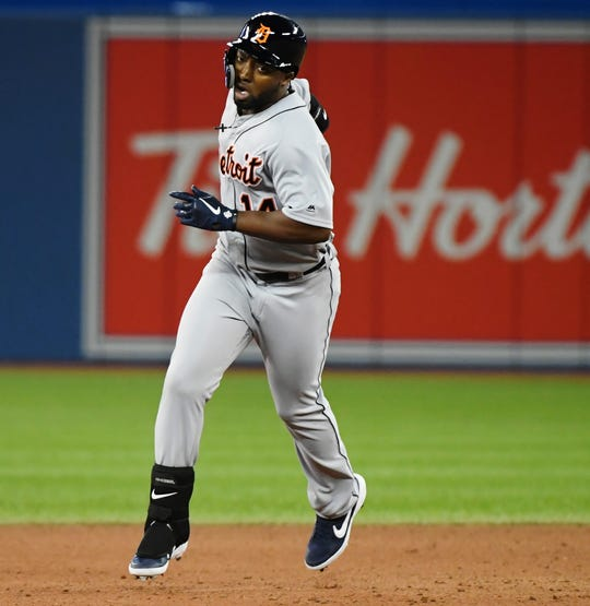 Tigers left fielder Christin Stewart rounds the bases after hitting a two-run home run against the Blue Jays during the 10th inning of the Tigers' 2-0 win on Thursday, March 28, 2019, in Toronto.