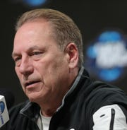 Michigan State head coach Tom Izzo talks with reporters about their Sweet 16 game against LSU, Thursday, March 28, 2019 at the Capital One Arena in Washington, D.C.