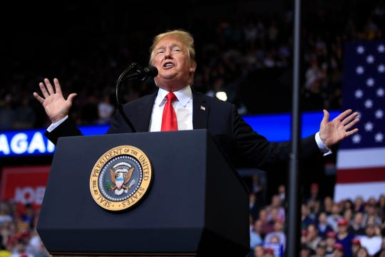 President Donald Trump speaks at a campaign rally in Grand Rapids, Mich., Thursday, March 28, 2019.