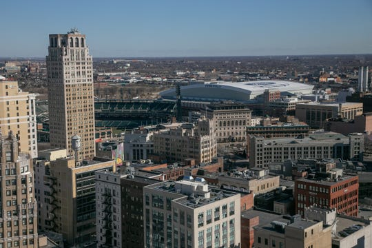 A view of Detroit skyline from a second-floor window in the three-story Book Cadillac penthouse for sale in downtown Detroit on Tuesday, March 26, 2019.