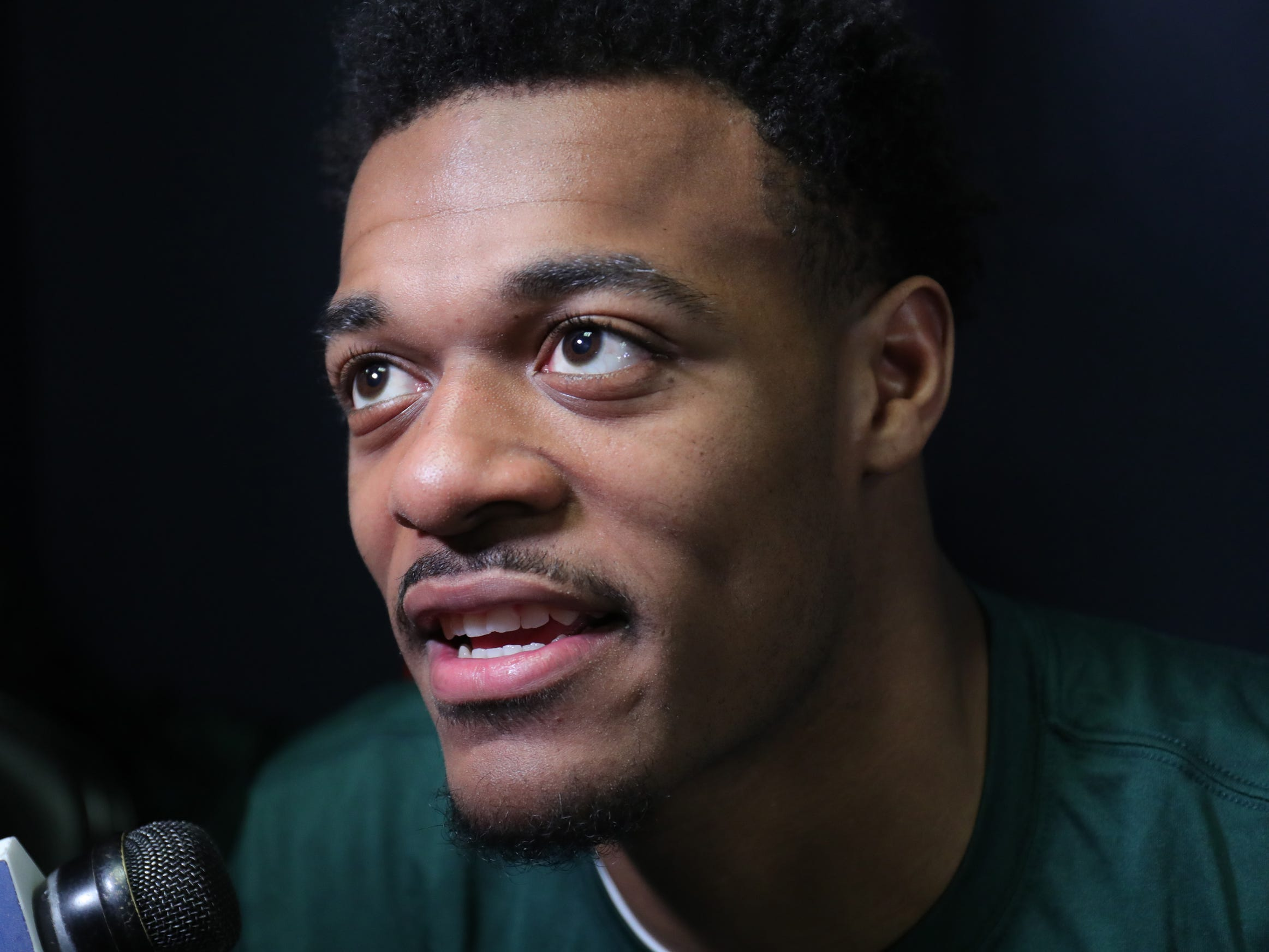 Michigan State forward Xavier Tillman talks with reporters about their Sweet 16 game against LSU, Thursday, March 28, 2019 at the Capital One Arena in Washington, D.C.