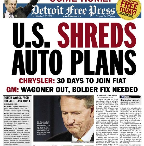 Detroit Free Press front page, 2009.